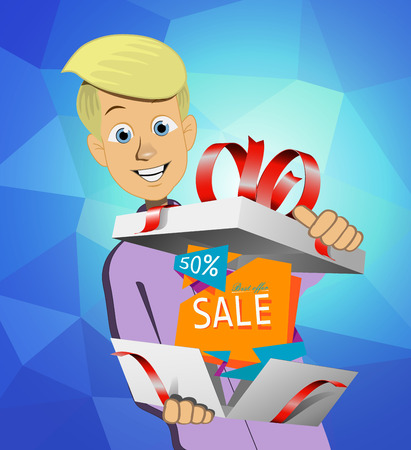 Boy holding a gift box at a discount Illustration
