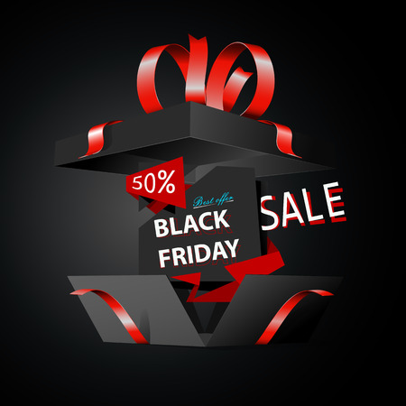Zwarte vrijdag verkoop reclame illustratie, zwarte cadeau doos met rode boog, retail, korting, speciale aanbieding