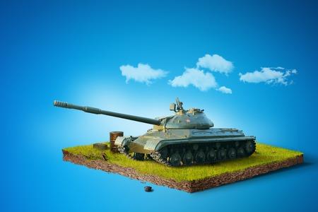 Slag Tank op een vierkant stuk grond. Militaire presentatie vecht voertuig