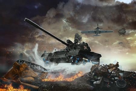 Vliegende Tank toekomst. De vliegende gevechtsvoertuig op een gevechtsmissie