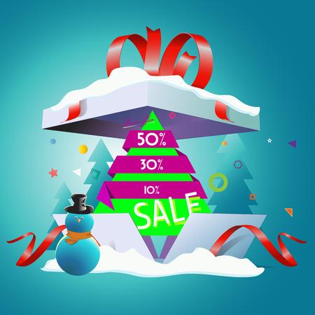 Korting op Nieuwjaar's vakantie in het grote cadeau Stock Illustratie