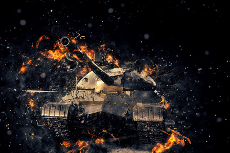 Tank blazing fire. Military conflict Stock Photo