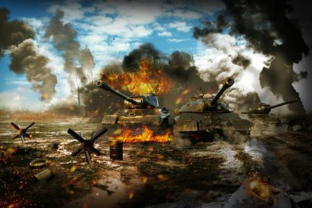 Slag Tank in het oorlogsgebied