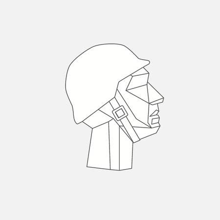 Low poly character military head