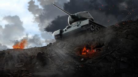 Slagtank op de rand van de geruïneerde gebieden Stockfoto