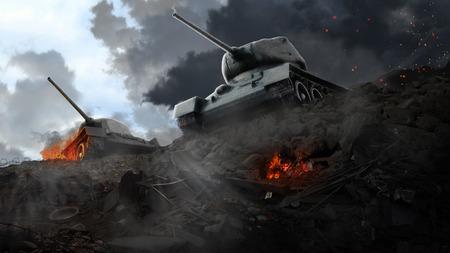 Twee slagtanks op de rand van de geruïneerde gebieden