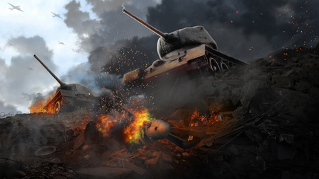 Two battle tanks in the wreckage of the downed plane Stock Photo