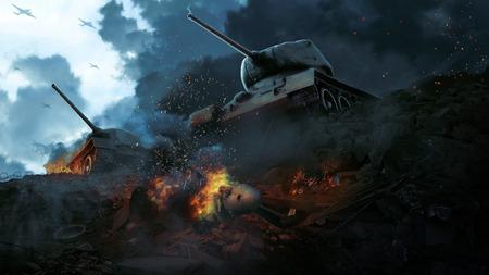 Twee slagtanks in het wrak van het neergezette vliegtuig