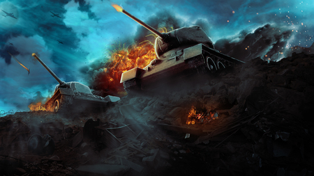 Two battle tanks in a hot flame Stock Photo