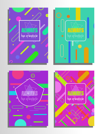 Set of abstract poster with lines and geometric shapes