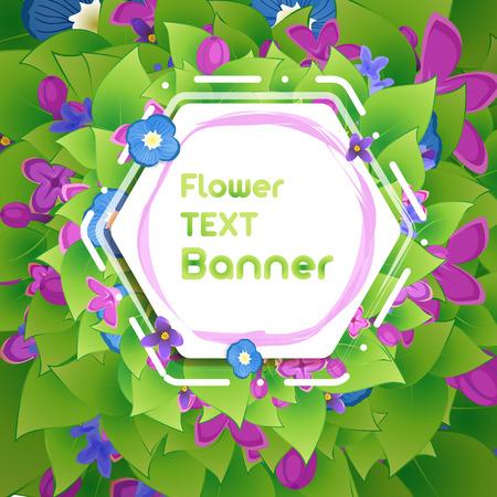 Banner in het botanische gebladerte en bloemen van lila Stock Illustratie