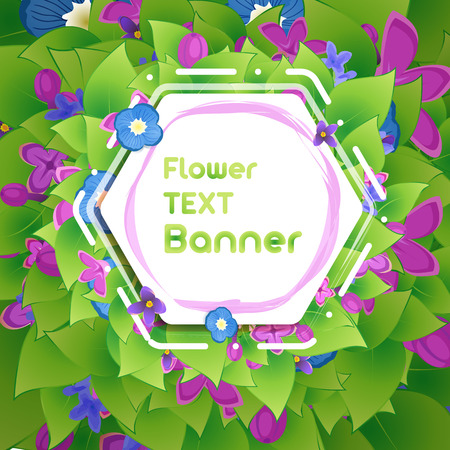 Banner in the botanical foliage and flowers of lilac Illustration