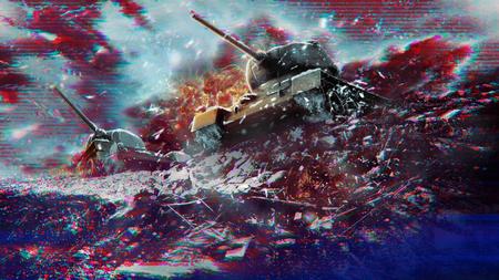Concept glitch effecten van oorlog en conflict Stockfoto
