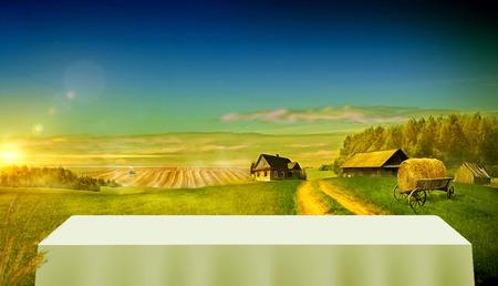 Landweg in het veld dat leidt naar de boerderijen Stockfoto