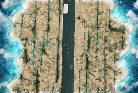 De weg langs de kust