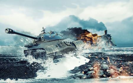 Soviet battle tank op de achtergrond van de brandende locomotief aangevallen Stockfoto