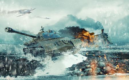 Serbatoio di battaglia sovietico sullo sfondo della locomotiva bruciante attaccato Archivio Fotografico - 73476469