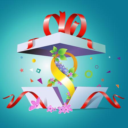 Een open cadeau doos voor de vakantie 8 maart