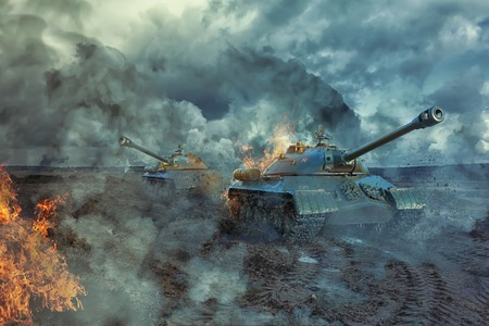 Two tanks on the battlefield Stockfoto