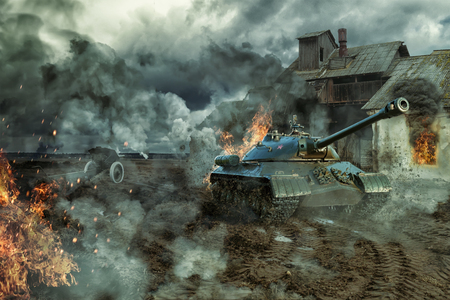 The battle of tanks Stockfoto
