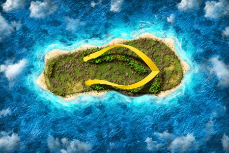 Het eiland in de vorm van een pantoffel met de hoogte van vogelvlucht