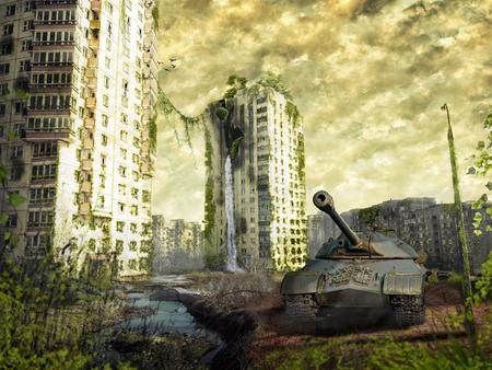 De tank in de ruïnes van de stad. Apocalyptisch landschap