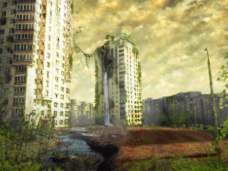 Ruïnes van een stad. Apocalyptisch landschap Stockfoto