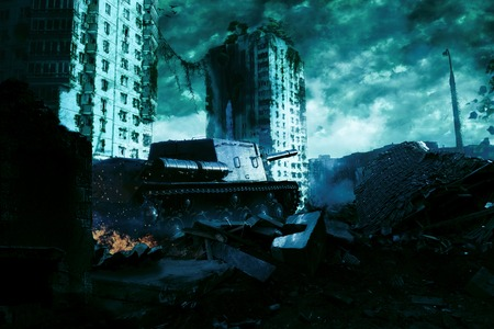 The tank in the ruins of the city. Apocalyptic landscape Stockfoto