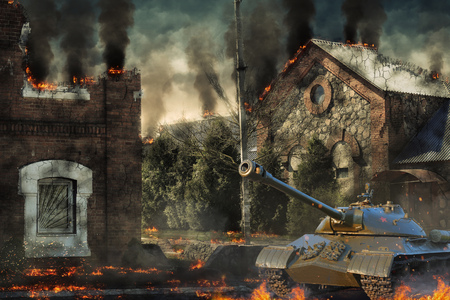 Tankverdediging vernietigde het platteland