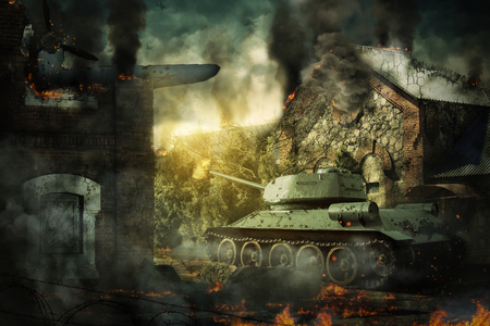Tank defense destroyed the countryside Stockfoto