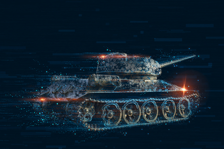 Pixel vervorming van het gevecht voertuig Stockfoto