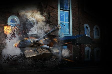 Tank door de muur van het gebouw