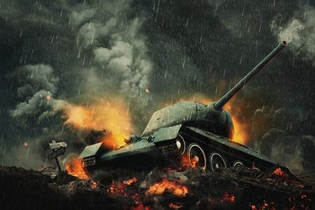 タンクは燃え盛る火の丘の上