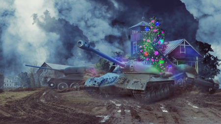 Three battle tanks in the new year are leaving rural areas Stockfoto