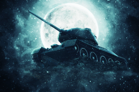 Battle tank in the light of the full moon