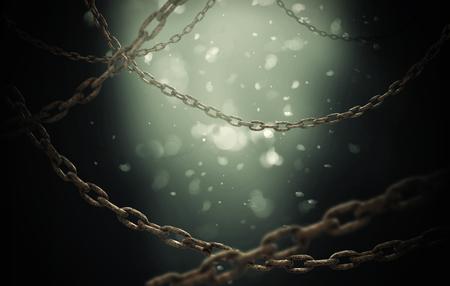 Rusty chain under water Stockfoto