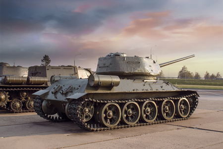 Medium tank of combat support T-34 Stockfoto