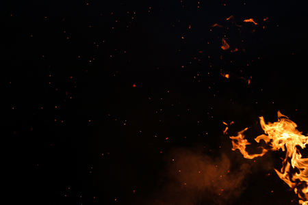 Flames on a black background Imagens