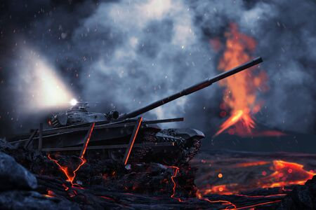 Battle tank on the battlefield against the background of an active volcano