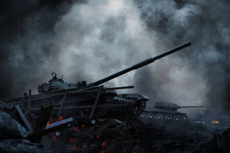 Tanks and planes rush into battle on besieged burning land Banco de Imagens