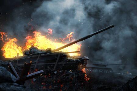 Burning battle tank on the battlefield at dusk