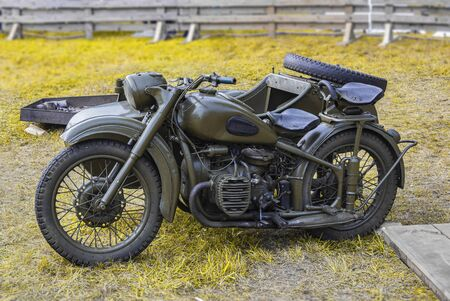 OLD MILITARY MOTOR BIKE. Two-wheeled vehicle of the second world war