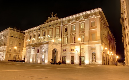 Nightlife scene on the Verdi theater of Trieste, on the side of the Piazza Unità  - Summer 2011