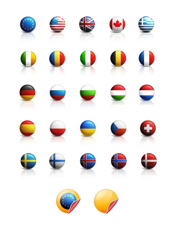finland flag: Set of glossy national flags icons
