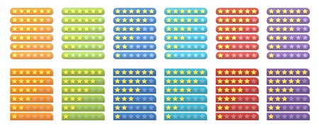 A complete set of colorful rating stars for web Stock Photo - 13070418