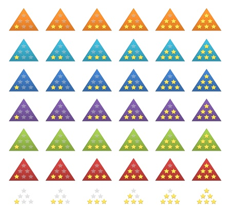 A complete set of colorful rating stars for web Stock Photo - 13070380