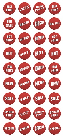 Set of red sales icons - 36 elements Stock Photo