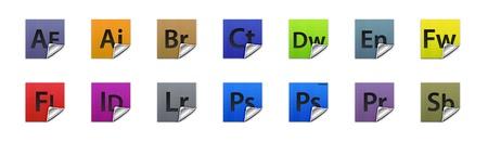 すべての Adobe 製品の 3 D ボタンの完全なセット 報道画像