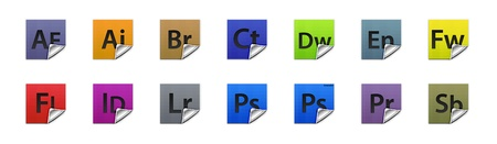 Complete set of 3D buttons for all Adobe products