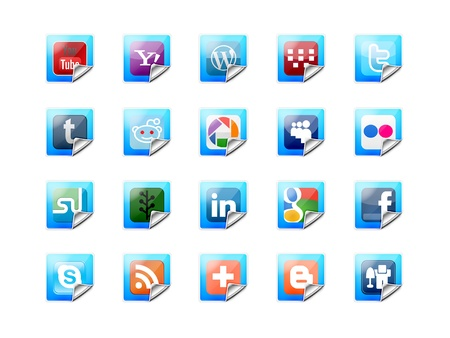 A complete set of colorful and glossy buttons of social technology Editorial